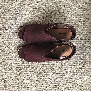 Women's Peep Toe Booties - Plum - Size 7.5